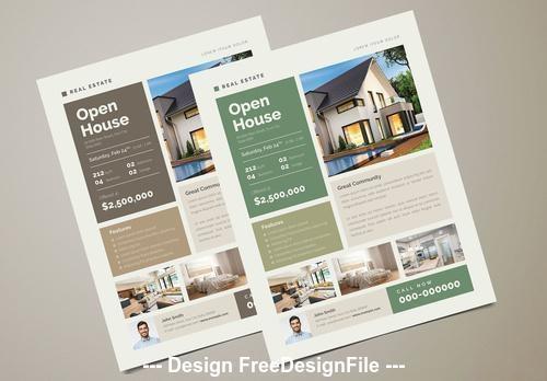 Green real estate flyer vector