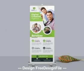 Green roll up banner with circular photo vector