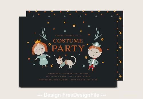 Halloween costume party with kids card vector