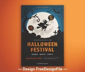 Halloween festival flyer illustrative vector