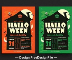 Halloween house party card vector