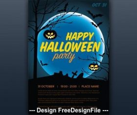 Halloween party Illustrated graveyard vector