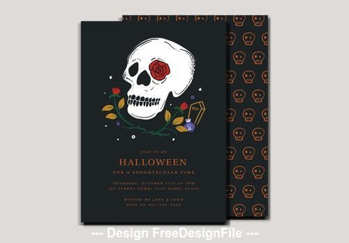 Halloween party invitation with skull vector