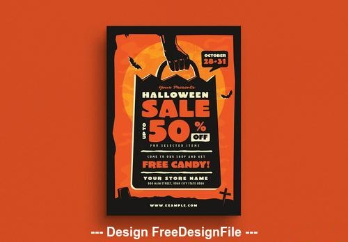 Halloween sale event flyer vector