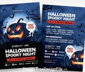 Halloween spooky illustrated flyer vector