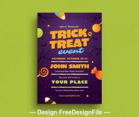 Halloween trick or treat flyer vector