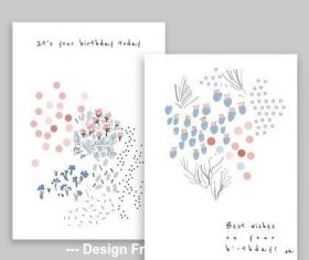 Hand drawn floral birthday card vector