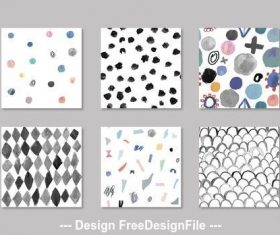 Hand painted abstract seamless patterns vector