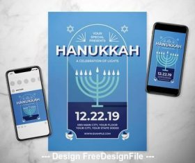 Hanukkah event flyer vector