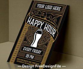 Happy hour flyer vector