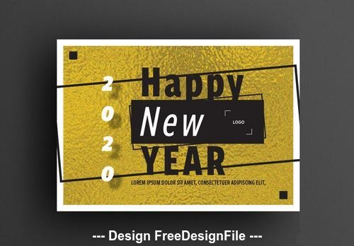 Happy new year card gold foil background vector