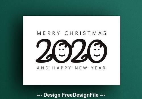 Happy new year card smiles vector