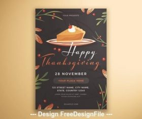 Happy thanksgiving flyer cake and leaves vector