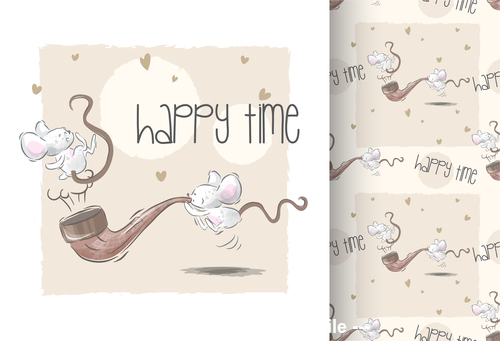 Happy time background cartoon decoration pattern vector