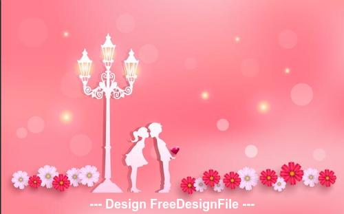 Happy valentines day silhouette card vector