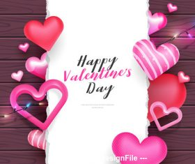 Heart and lantern decoration valentines day greeting card vector