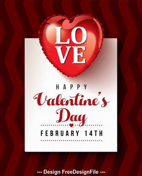 Heart balloon valentines day greeting card vector