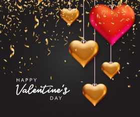 Heart pendant and golden confetti Valentines day greeting card vector