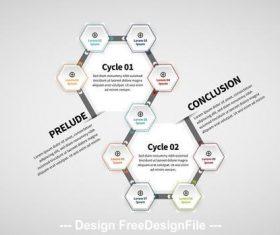 Hexagonal infographic layout vector