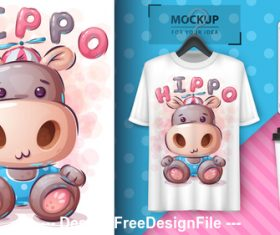 Hippo funny cartoon decorative pattern vector