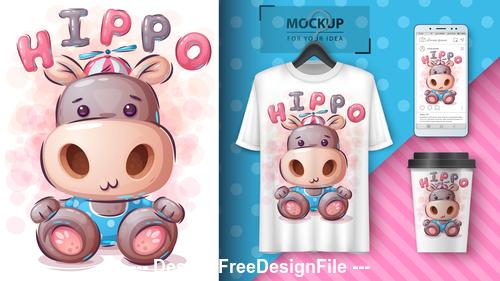 Hippo funny cartoon decorative pattern vector