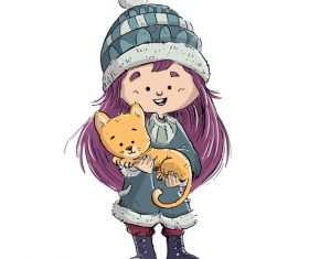 Holding pet child illustration vector