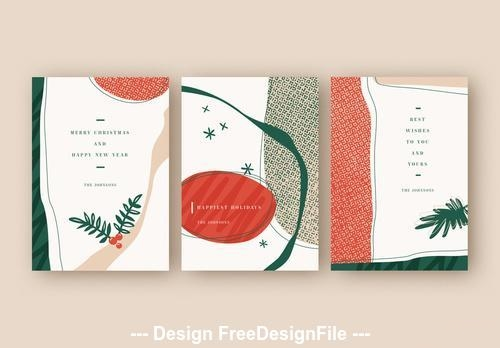 Holiday card layout set with illustrative vector