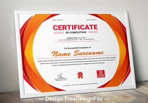 Horizontal red and orange certificate of completion vector