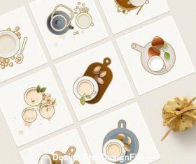 Icons non-dairy milk alternatives vector