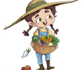 Illustration of children picking vegetables vector