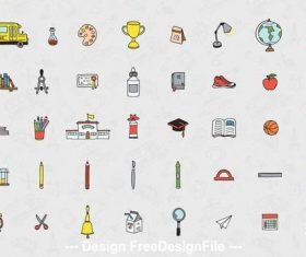 Illustrative back to school elements icon set vector