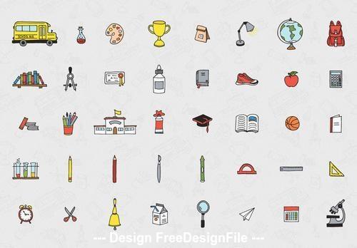 Illustrative back to school elements icon set vector