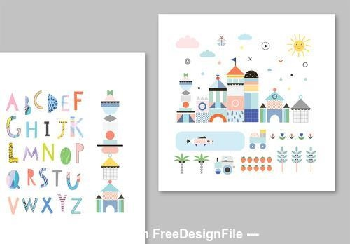 Illustrative childrens posters layouts vector