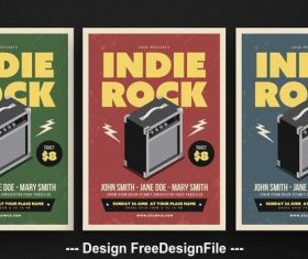 Indie rock music flyer vector