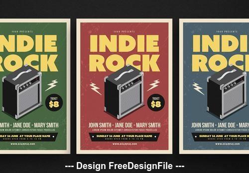 Indie rock music flyer vector