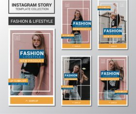 Instagram story collection design templates vector