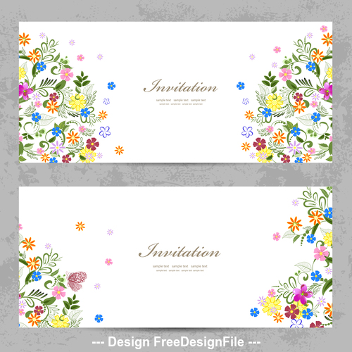 Invitation flowers background card vector