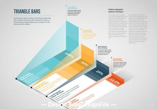 Isometric triangle bars info chart vector