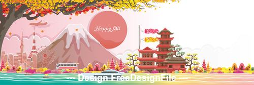 Japanese landscape illustration vector