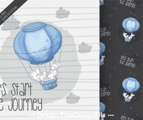 Journey background cartoon decorative pattern vector