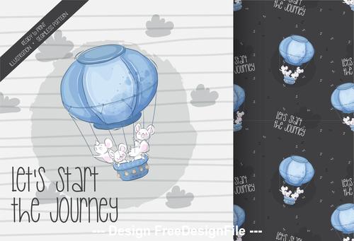 Journey background cartoon decorative pattern vector