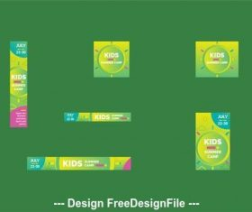 Kids summer camp web banner vector