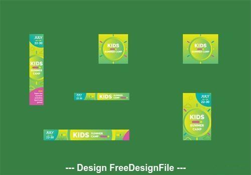 Kids summer camp web banner vector