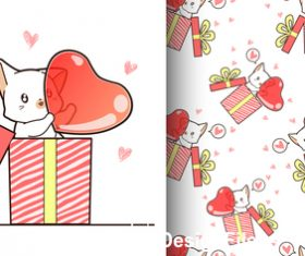 Kitten with heart cartoon background vector