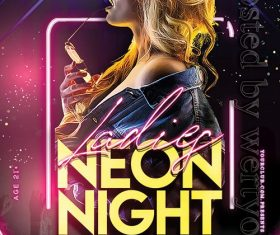 Ladies Neon Night Poster and Flyer PSD Template