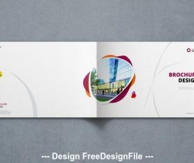 Landscape cover with orange and purple elements vector