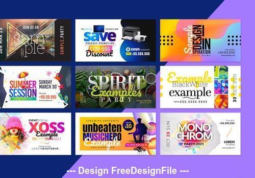 Landscape social media post layouts vector