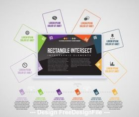 Laptop rectangles info chart vector