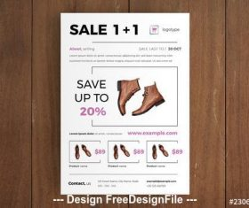 Leather shoes product sale flyer vector