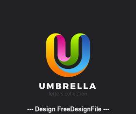 Letter U logo design 3D vector